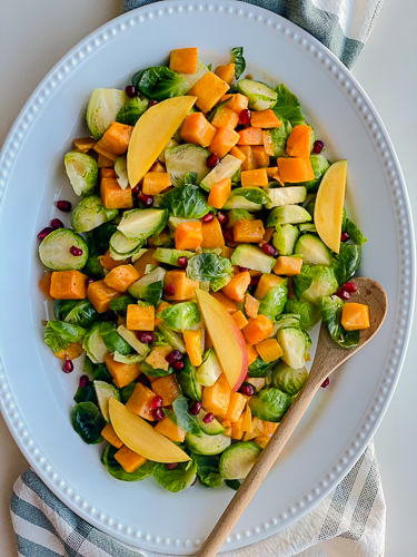 VEGAN BRUSSELS SPROUT SALAD WITH ROASTED SQUASH RECIPE