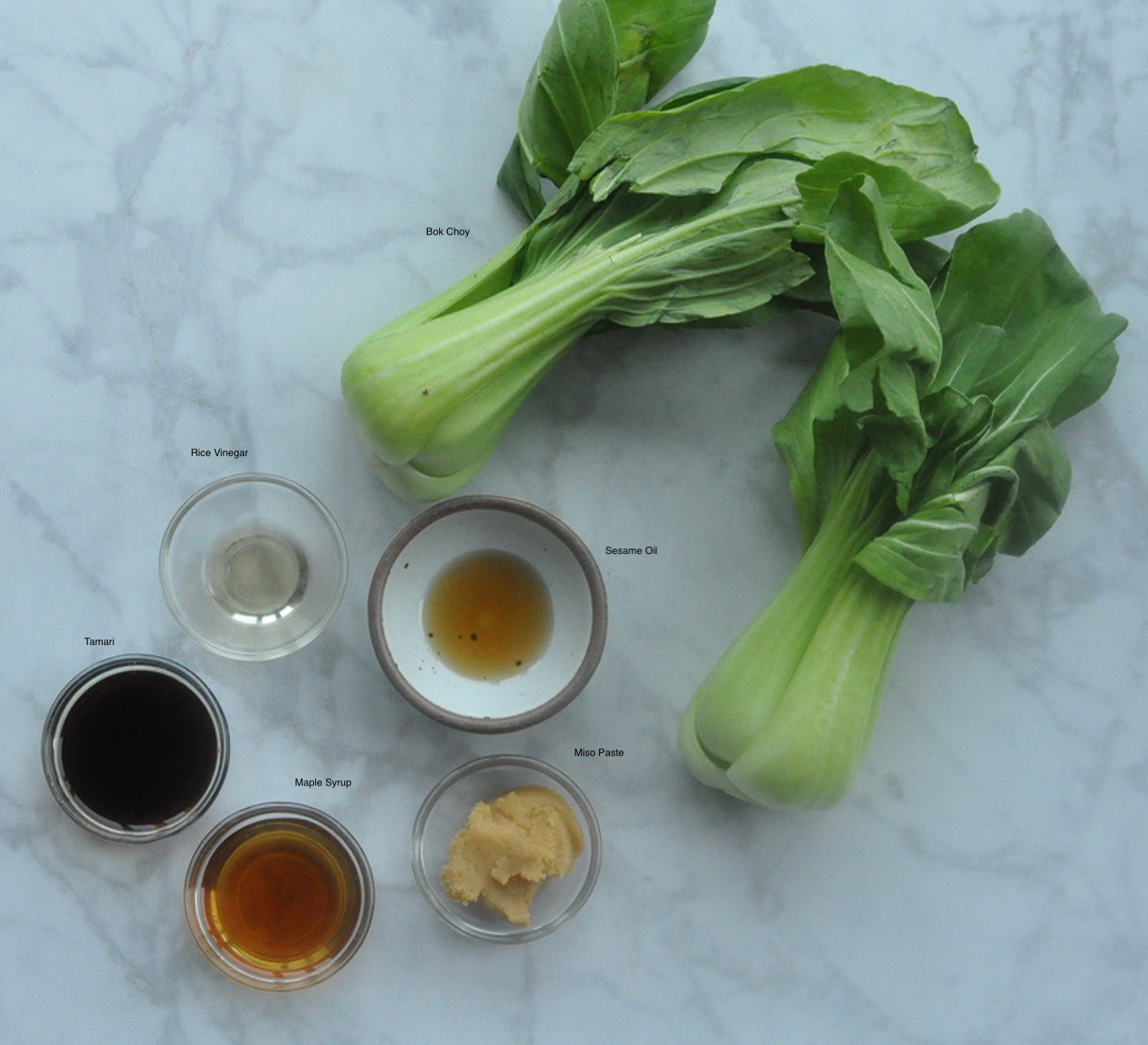 Miso Glazed Bok Choy Ingredients